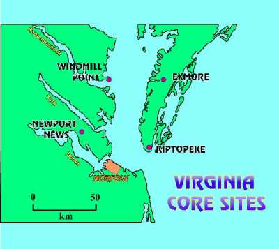 map of Virginia core sites