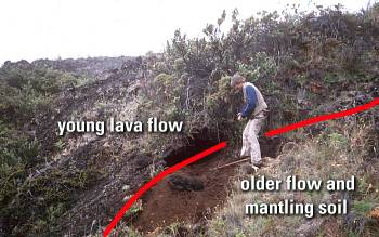 Close view of base of Holua flow, Haleakala Crater, East Maui volcano, Maui