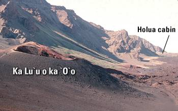Close view of north rim of Ka Lu`u o ka `O`o cone, Haleakala Crater, East Maui volcano, Maui