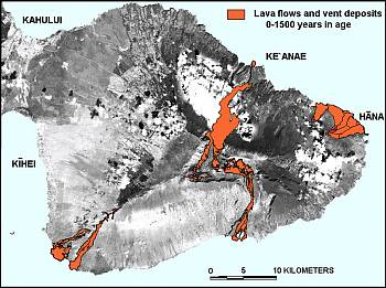 Map of east Maui volcano Haleakala showing lava flows younger than 1,500 years, Maui